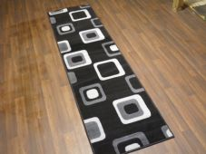New Modern Runner 60x220cm Aprox 8ft Black Grey Squares non slip easy clean home